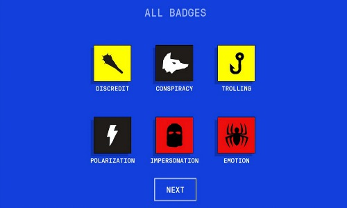 game badges earned by mastering misinformation techniques